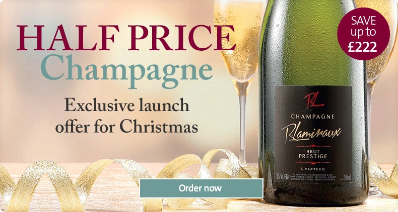 HALF PRICE Champagne. Roundel copy = Save up to £221. Exclusive launch offer for Christmas. Order now