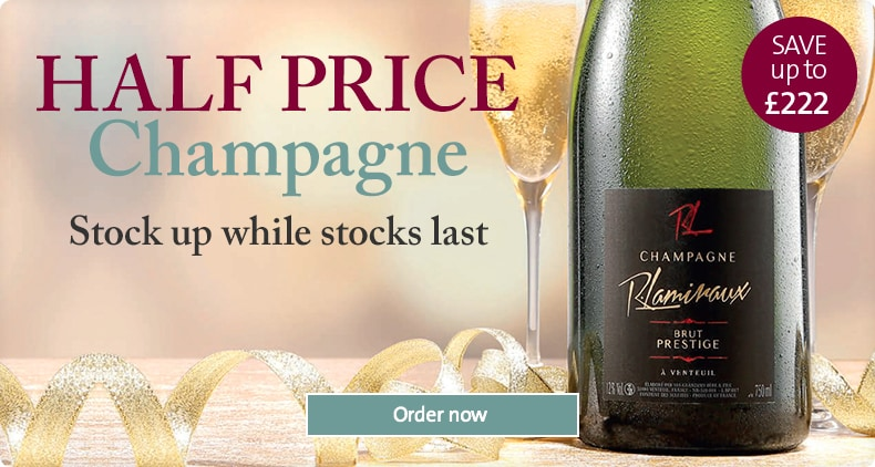 HALF PRICE Champagne. Save up to £222. Order now