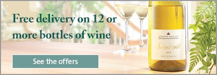 Free delivery on 12 or more bottles of wine'