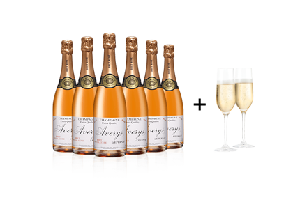 Averys Special Cuvee Rose + Free Flutes