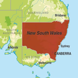 Map showing New South Wales