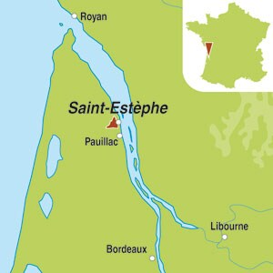 Map showing Saint-Estephe AOC 2eme Grand Cru Classe