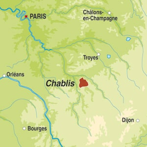Map showing Chablis AOC
