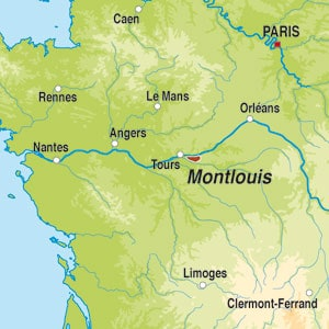 Map showing Montlouis sur Loire AOC