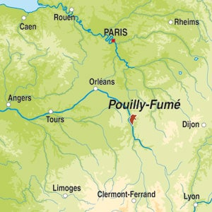 Map showing Pouilly-Fume AOC