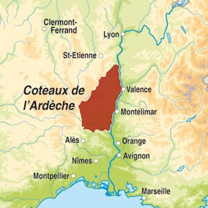 Map showing Ardèche IGP