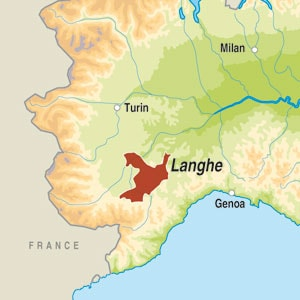 Map showing Langhe DOC