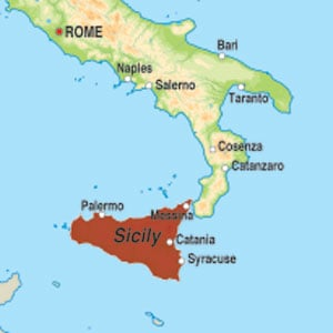 Map showing Terre Siciliane IGT