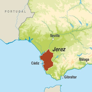 Map showing Jerez DO