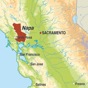 Map showing Napa Valley